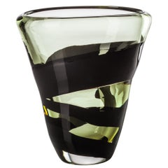 Venini Large Black Belt Oval Glass Vase in Crystal and Green by Peter Marino