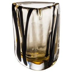 Venini Large Black Belt Triangular Glass in Crystal and Tea by Peter Marino