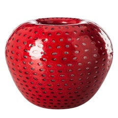 Gusci Small Glass Vase in Coral Red and Crystal with Textured Surface by Venini