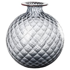 Monofiore Balaton Glass Vase in Grey with Red Thread Rim by Venini