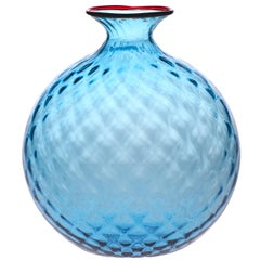 Monofiore Balaton Glass Vase in Aquamarine with Red Thread Rim by Venini