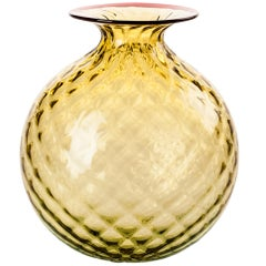 Monofiore Balloton Glass Vase in Bamboo with Red Thread Rim by Venini