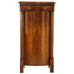 Small Biedermeier Cabinet, Walnut with Convex Doors, Austria/Vienna, circa 1820