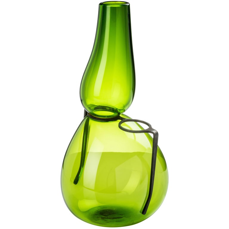 Venini 'Where Are My Glasses?' Single Lens Glass Vase in Green by Ron Arad
