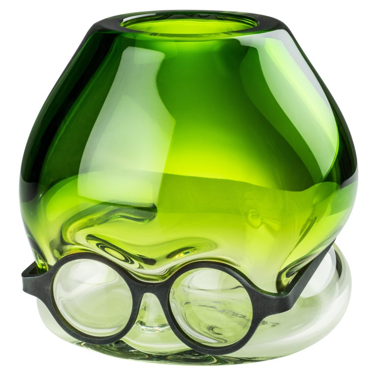 Venini 'Where Are My Glasses?' Glass Vase in Green & Crystal by Ron Arad