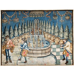 Early 18th Century Tapestry Depicting Three Men Dancing in a Garden