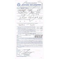 John Lennon Autograph on Customs Declaration