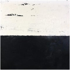 John O'Hara, White and Black IIII, Encaustic Painting