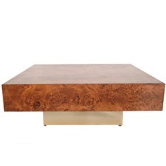 Willy Rizzo Style, Burl Wooden Coffee Table Square with Brass Base, Italy, 1970s