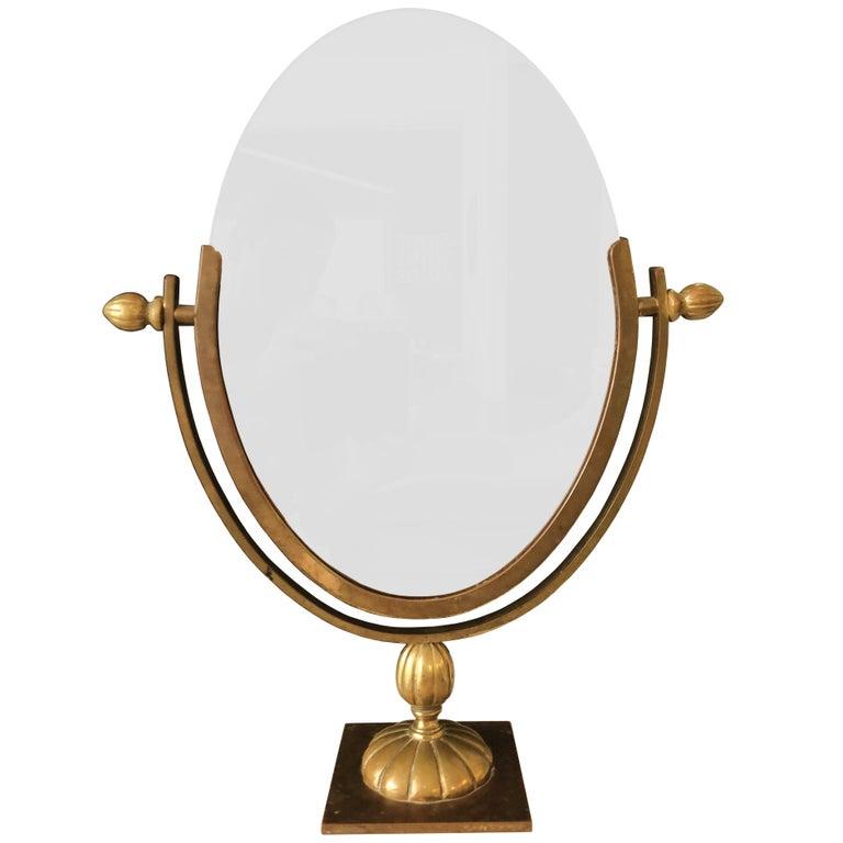Charles Hollis Jones Vanity or Table Mirror in Antique Brass