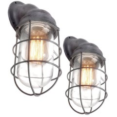 Pair of Benjamin Explosion Proof Caged Sconces