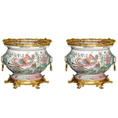Pair of Louis XVI Style Gilt Bronze and Chinese Export Porcelain Jardinières