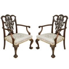 Large Pair of Chippendale Ribbon Back Armchairs, 19th Century
