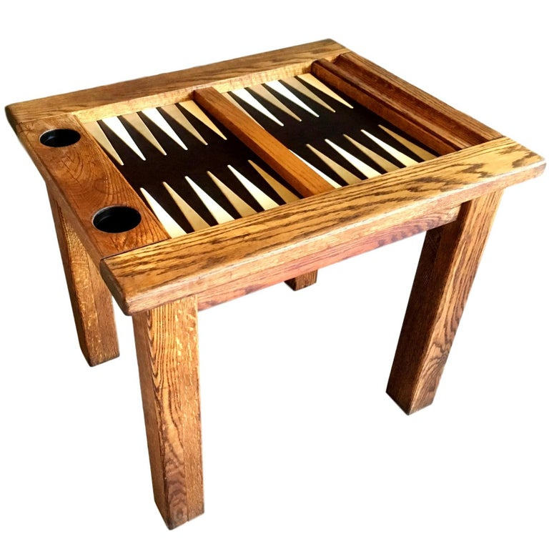 Vintage Oak Backgammon Table With Leather Top