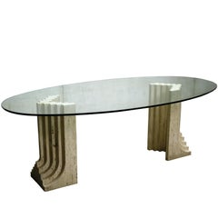Vintage Travertine Oval Dining Table by Studio Simon Italy, 1980s