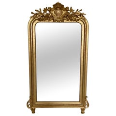 French Louis Philippe Gilded Overmantel Mirror, circa 19th Century