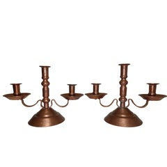 Hammered Copper Candleholders, Mexican, Early to Mid-20th Century
