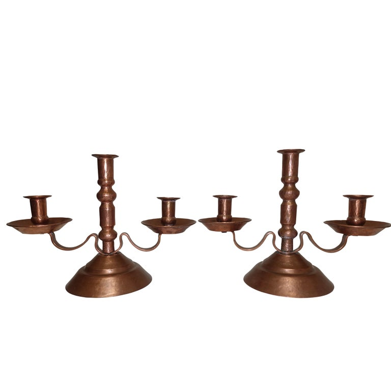 Hammered Copper Candleholders, Mexican, Early to Mid-20th Century For Sale