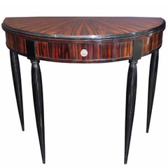 Small Art Deco Demilune Console in Macassar Ebony and Black Lacquer