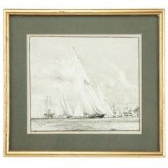 Watercolour of Britannia K1 prepared for King George V by Charles Dixon RA