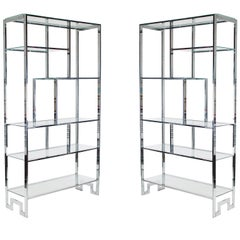 Matching Pair of Mid-Century Modern Chrome and Glass Etagere after Milo Baughman