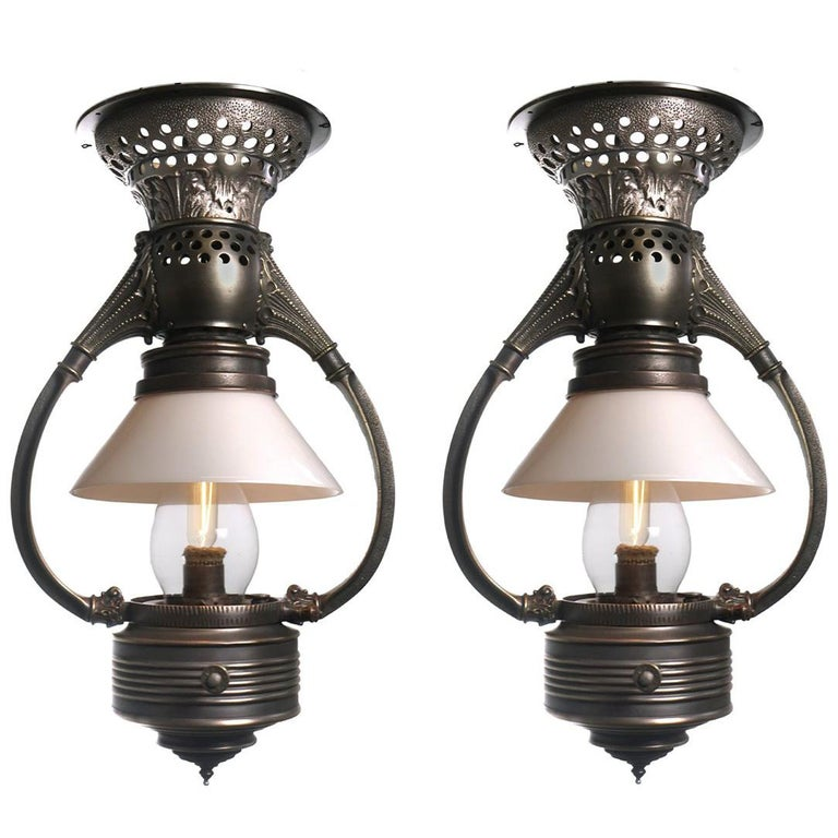 Adams and Westlake Bow Arm Pullman Car Railroad Lamps, Pair For Sale