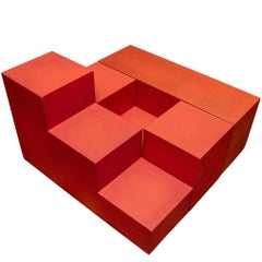 "Set of Red ""Gli Scachi"" Sculptural Table by Mario Bellini for B&B Italia"