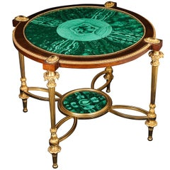 Fine French Louis XVI Style Gilt Bronze and Malachite Coffee Table