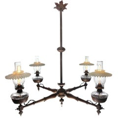 Antique Four-Arm Victorian Oil Chandelier, Newly Wired