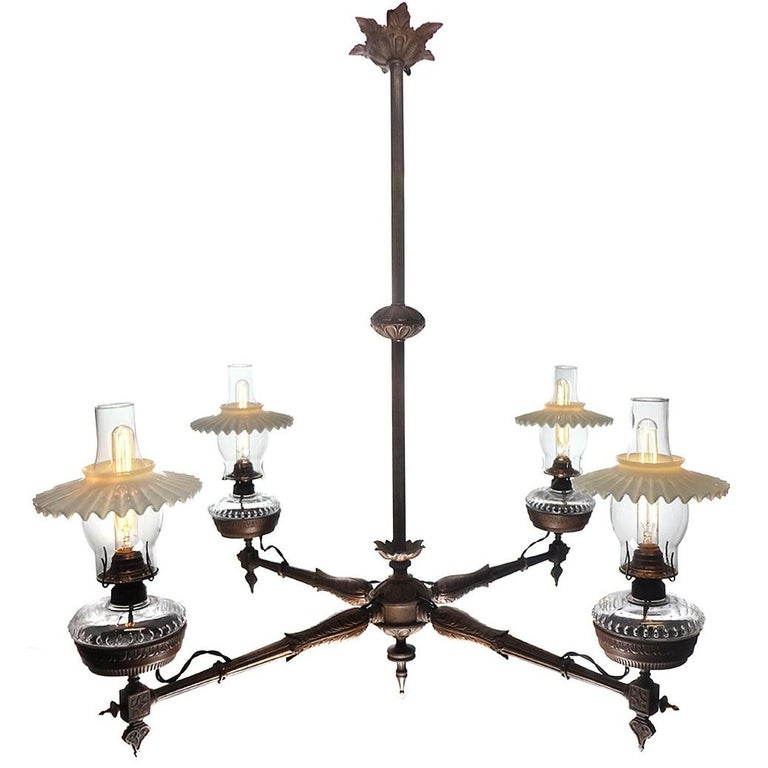 Antique Four-Arm Victorian Oil Chandelier, Newly Wired For Sale