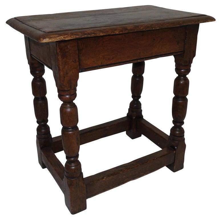 Antique Oak Stool, English, 19th Century For Sale