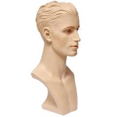 Male, Realistic, Gypsum Mannequin Bust for Necklaces, Art Deco, Austria, 1950s
