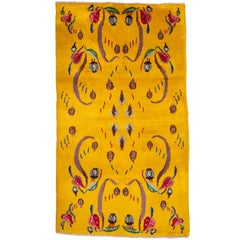 Midcentury Turkish Deco Rug, Wool on Cotton, 1960s