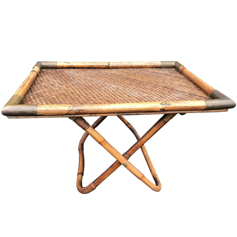 Gabriella Crespi Bamboo and Wicker Side Table