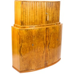 1930s Art Deco Burr Walnut Half Moon Cocktail Bar