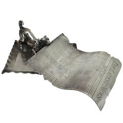 Pairpoint Silver Plate Calling Card Tray Dog with Newspaper, Late 19th Century