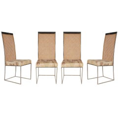Mid-Century Modern Chrome and Cane High Back Dining Chairs by Milo Baughman