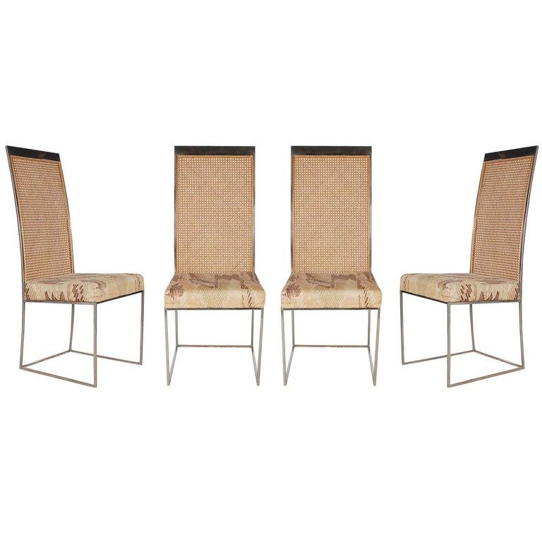 Mid-Century Modern Chrome and Cane High Back Dining Chairs by Milo Baughman For Sale