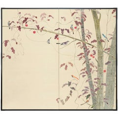 Two-Panel Screen, Birds and Autumn Trees