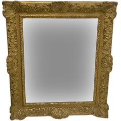 French Louis XIV Gilded Wood and Stucco Mirror, 18th Century