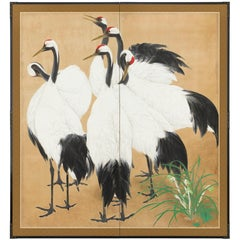 Two-Panel Screen, Group of Six Cranes by Orchid