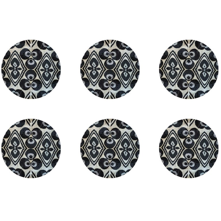 Ikat Porcelain Dinner Plates Set of Six Black Made in Italy For Sale