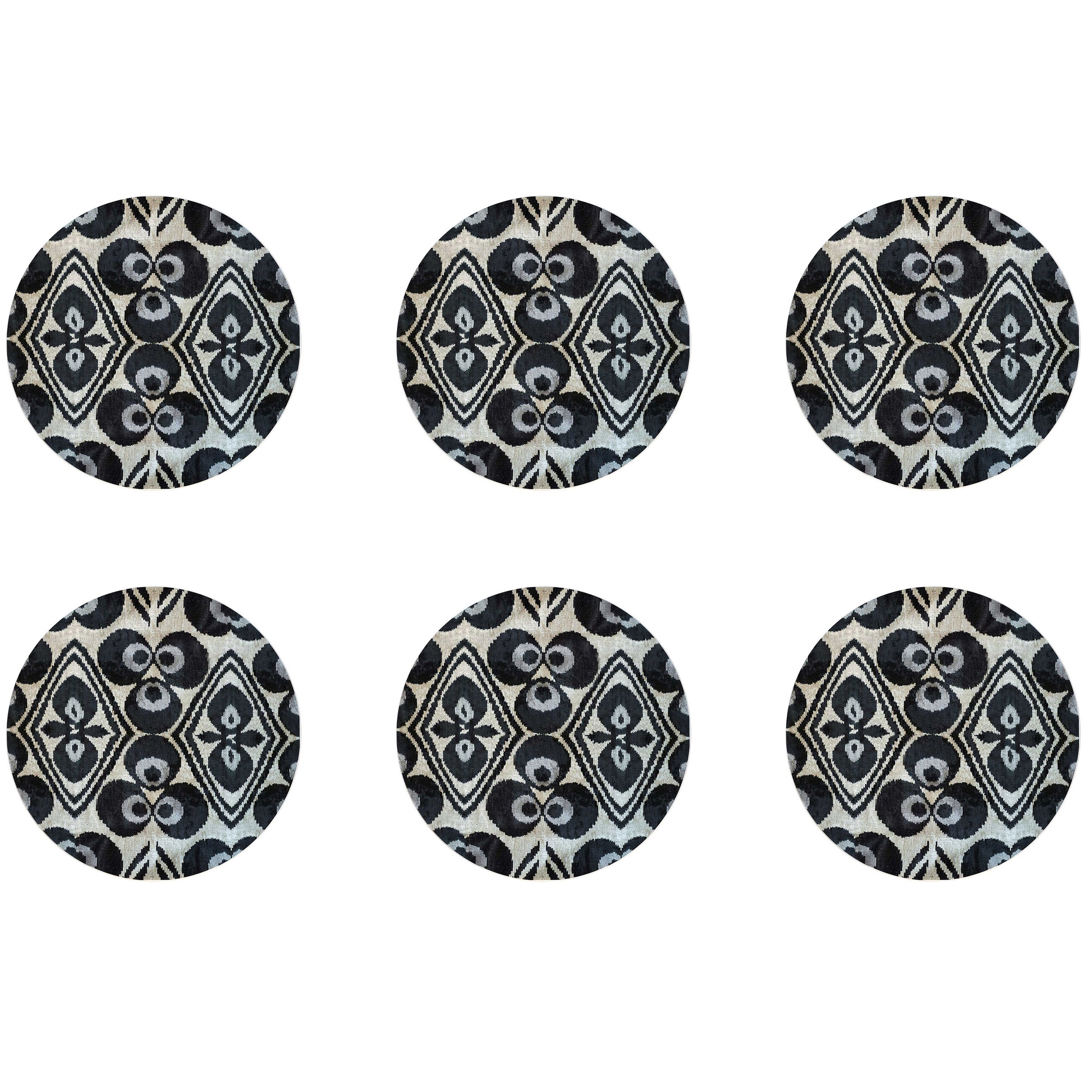 Ikat Porcelain Dinner Plates Set of Six Black Made in Italy