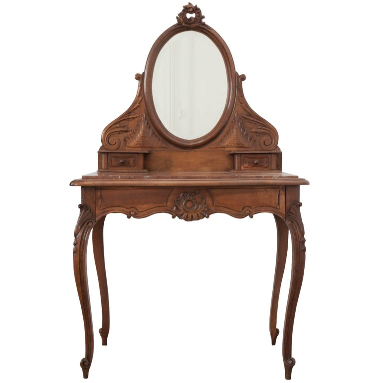 French, 19th Century Louis XV Style Walnut Vanity For Sale