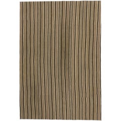 Vintage Turkish Kilim Rug with Stripes and Modern Style with Neutral Colors