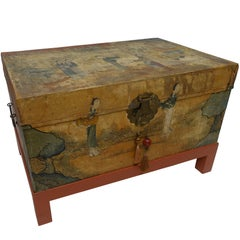 Chinese Export Hand-Painted Leather Trunk on Stand, Early 20th Century