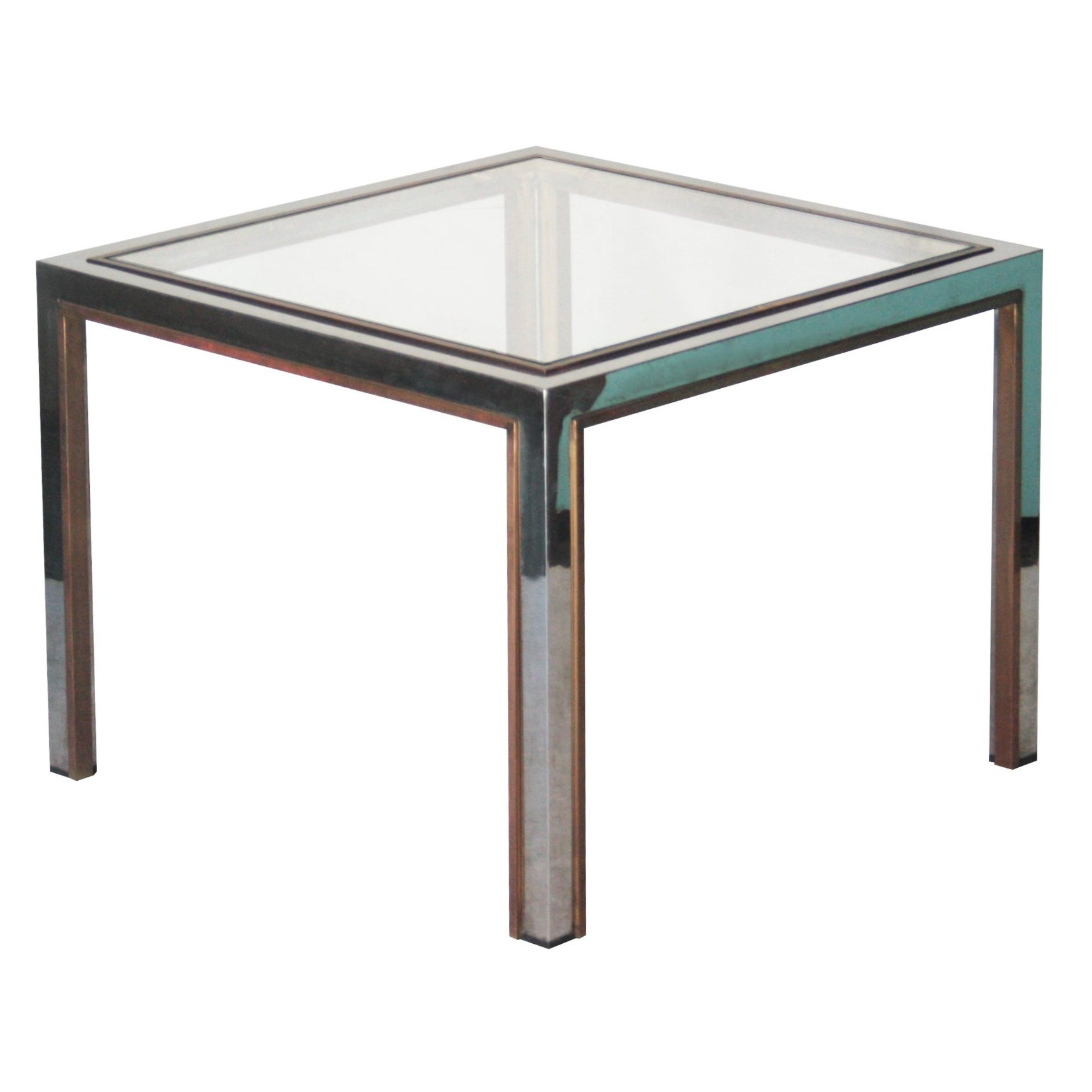 Mid-century Modern Square Steel Brass Side Table, France, 1970