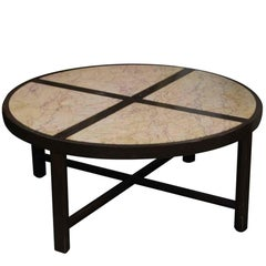 1950s Mid-Century Modern Four Section Marble Top and Dark Tone Wood Coffee Table