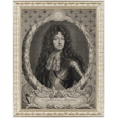 Portrait of Louis XIV of France, After Engraving by Peter Vandrebanc