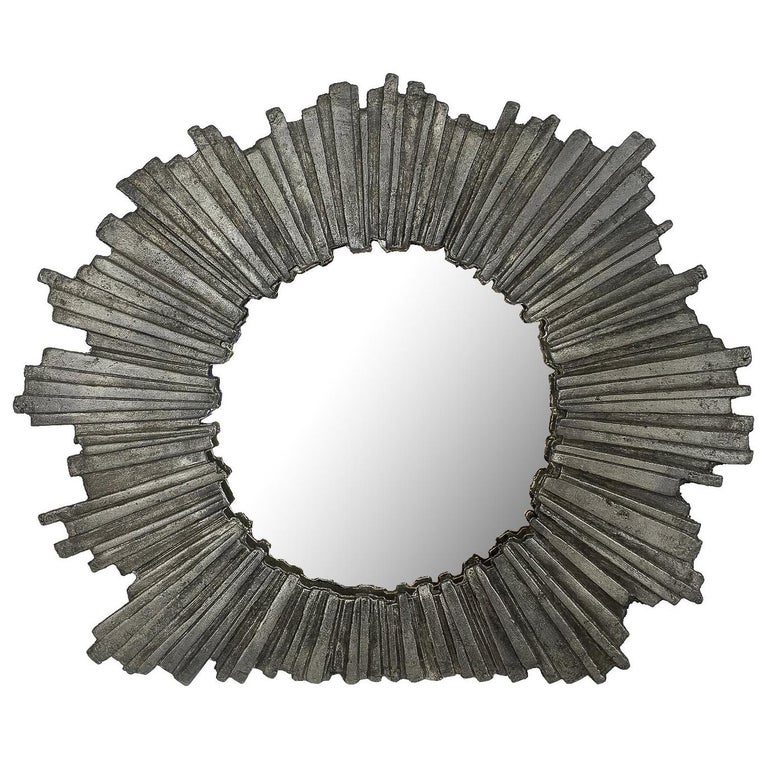 Brutalist Starburst Pewter Frame or Mirror For Sale
